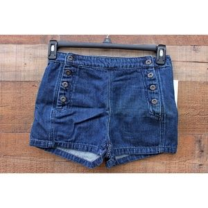 Free People Denim High Waist Sailor Shorts Sz 25
